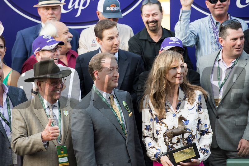 Connections of Finest City celebrate winning the Filly Mare Sprint (gr. I) at Santa Anita on Nov. 5, 2016, in Arcadia, California.