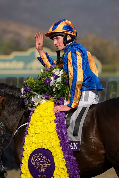 Ryan Moore celebrated winning the Breeders' Cup Turf (G. I) atop Magician. Photo by Crawford Ifland.