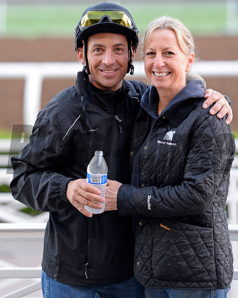 Aaron Gryer and ?? on Oct. 26, 2014, at Santa Anita in preparation for the Breeders' Cup.<br /> 2Origs10_26_14 image250<br /> Anne M. Eberhardt photo