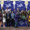 Connections of Tamarkuz, with Mike Smith up, after winning the Las Vegas Dirt Mile at Santa Anita on Nov. 4, 2016, in Arcadia, California.