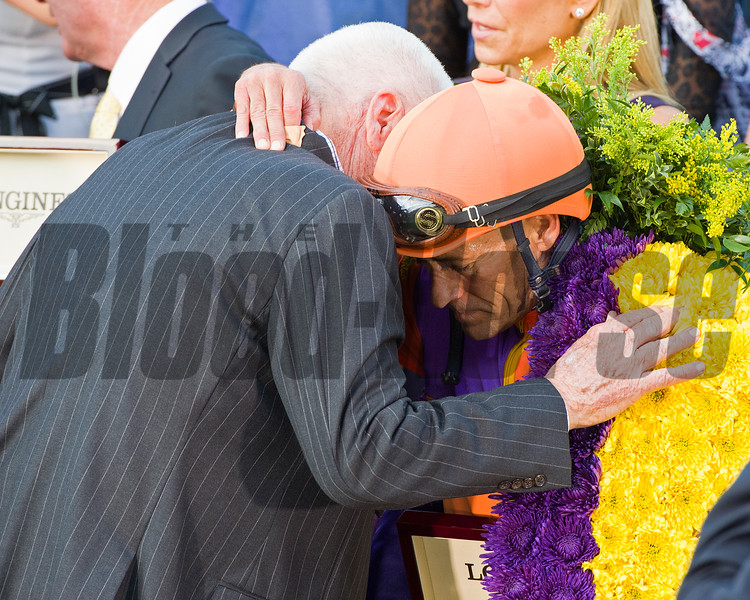 Hughes and Stevens in wc after race<br /> Beholder, with Gary Stevens up, wins the Longines Distaff (gr. I) at Santa Anita on Nov. 4, 2016, in Arcadia, California.