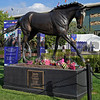 Caption:  Zenyatta statue with flowers in honor of the champ and her 2014 foal Z Princess<br /> Breeders' Cup at Santa Anita  on Oct. 31, 2014, in Arcadia, California.<br /> 1Origs10_31_14 image524<br /> Photo by Anne M. Eberhardt