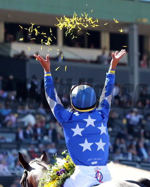 Jose Ortiz celebrates after winning the Breeders' Cup Juvenile Turf with Structor at Santa Anita Park on November 1, 2019. Photo By: Chad B. Harmon