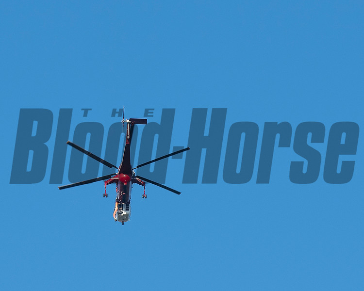 Helicopter on way to fire<br /> at  Oct. 28, 2019 Santa Anita in Arcadia, CA.