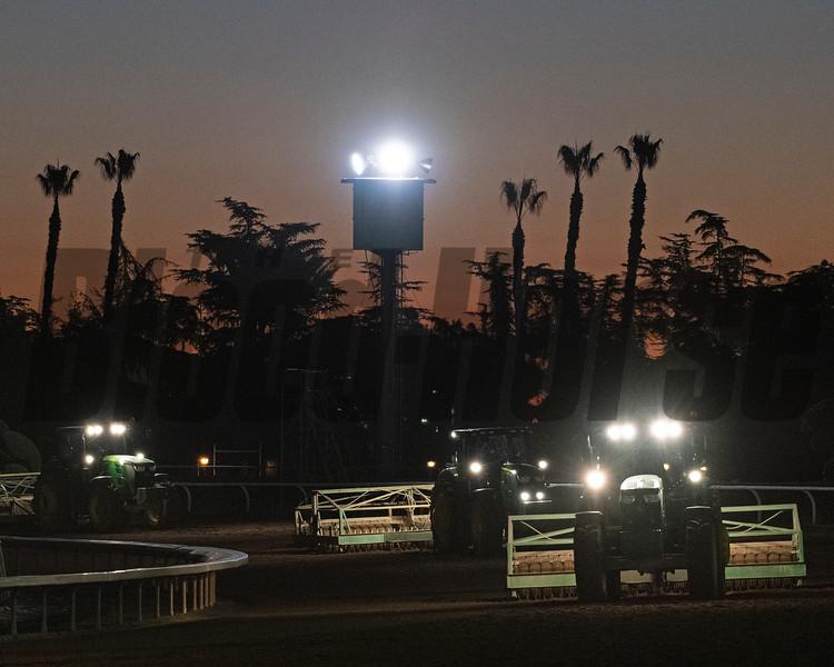 track maintenance<br /> Horses and scenes at  Oct. 26, 2019 Santa Anita in Arcadia, CA.