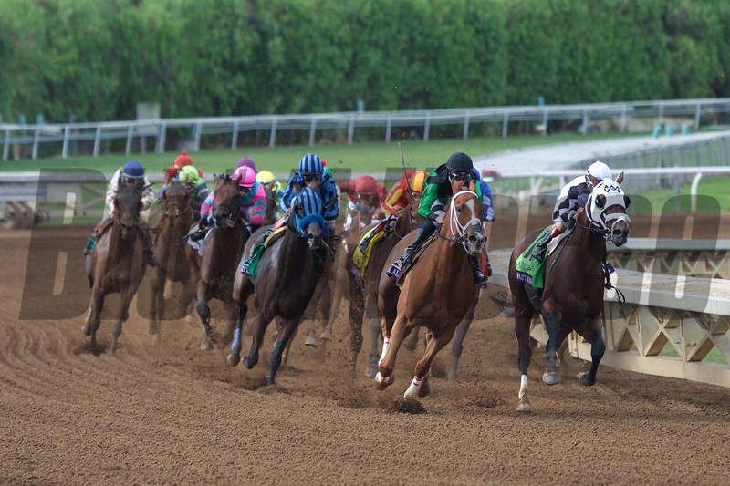Work All Week, with Florent Geroux up (black cap) led the field around the final turn to win the Breeders' Cup Sprint (G. I) on November 1, 2014.