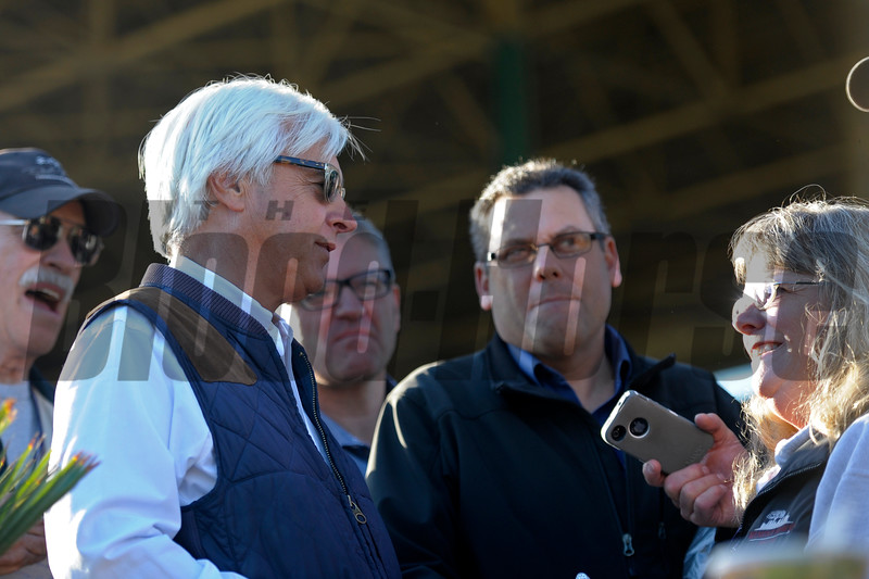 Caption:  Bob Baffert and media<br /> Breeders' Cup horses and connections at Santa Anita near Acadia, California, preparing for Breeders' Cup raceways on Nov. 1 and Nov. 2, 2013.<br /> BCWorks1Jpegs_10_29_13 image549<br /> Photo by Anne M. Eberhardt