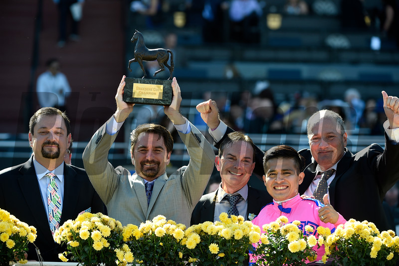 Connections of Champagne Room celebrate after winning the 14 Hands Winery Juvenile Fillies (gr. I) at Santa Anita on Nov. 5, 2016, in Arcadia, California.
