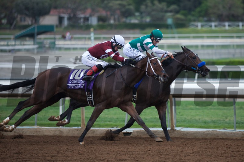 Untapable, Rosie Napravnik up, came around the final turn and won the Breeders' Cup Distaff (G. I) on October 31, 2014.