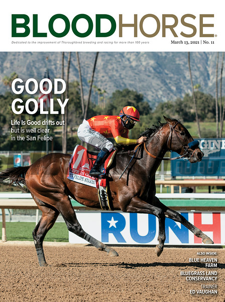 March 13, 2021 issue 11; cover of BloodHorse