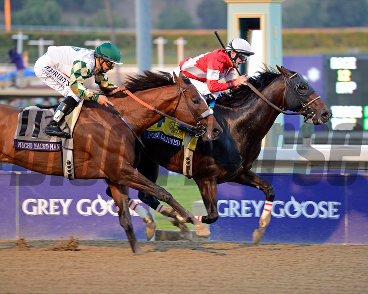 Caption: Fort Larned with Brian Hernandez Jr. wins the Breeders' Cup Classic. Mucho Macho Man with Mike Smith in second.<br /> Breeders' Cup races at Santa Anita near Arcadia, California, on Nov. 3, 2012.<br /> BCRACES2012        Classic  image680<br /> Photo by Anne M. Eberhardt