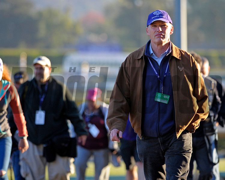 Caption:  JOhn Gosden<br /> Breeders' Cup horses and connections at Santa Anita near Acadia, California, preparing for Breeders' Cup raceways on Nov. 1 and Nov. 2, 2013.<br /> BCWorks3Jpegs_10_30_13 image999<br /> Photo by Anne M. Eberhardt