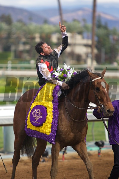 Kent Desormeaux celebrated winning the Breeders' Cup Juvenile (G. I) atop Texas Red on November 1, 2014.