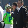 Javier Castellano talks with connections after a steward's inquiry. Photo by Crawford Ifland.