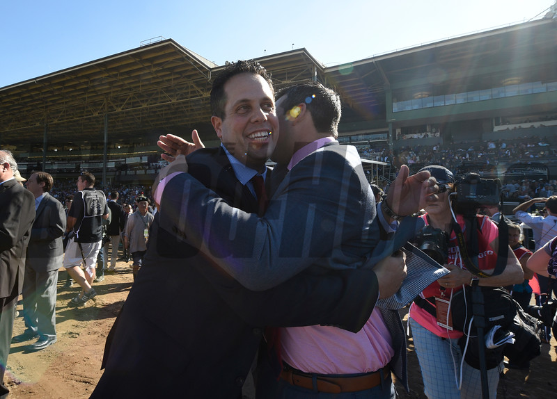 Connections of Highland Reel celebrate after winning the Longines Turf (gr. I) at Santa Anita on Nov. 5, 2016, in Arcadia, California.