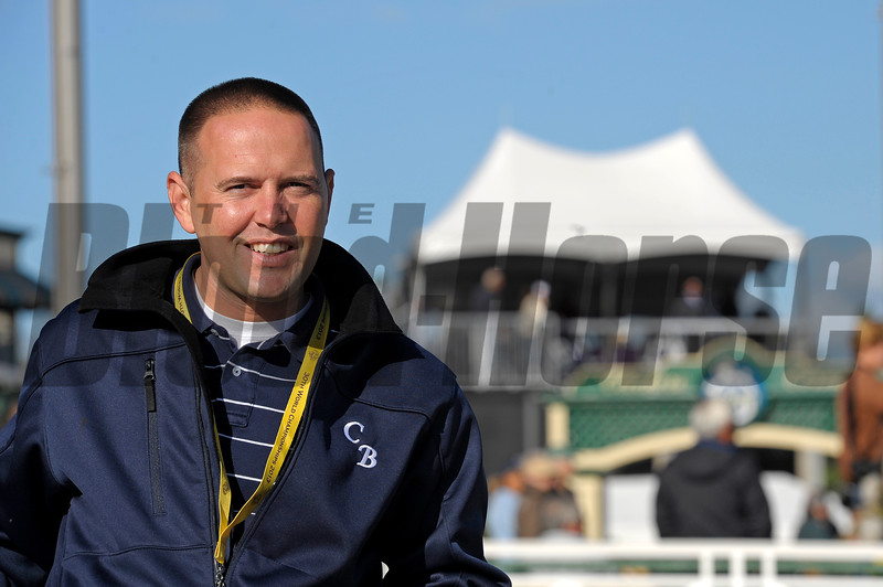 Caption:  Chad Brown<br /> Breeders' Cup horses and connections at Santa Anita near Acadia, California, preparing for Breeders' Cup raceways on Nov. 1 and Nov. 2, 2013.<br /> BCWorks1Jpegs_10_29_13 image654<br /> Photo by Anne M. Eberhardt