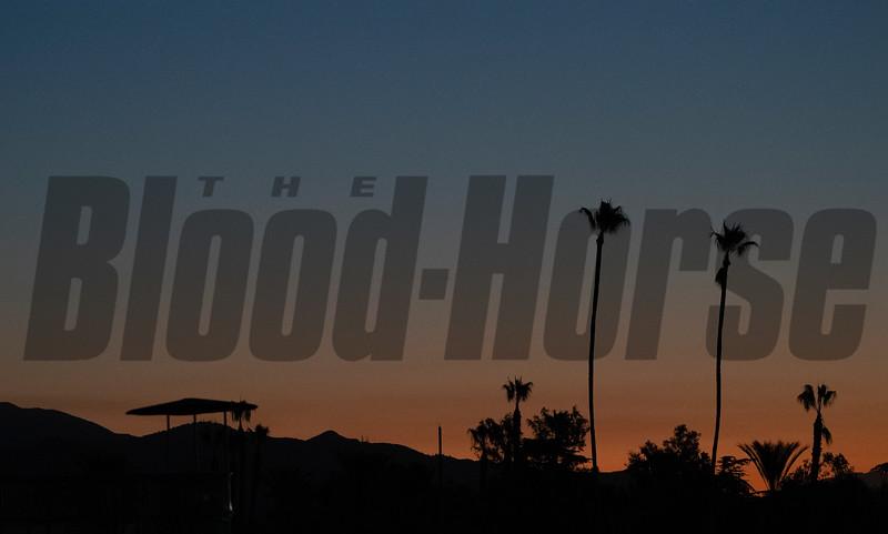 morning sunrise over track<br /> Horses and scenes at  Oct. 26, 2019 Santa Anita in Arcadia, CA.
