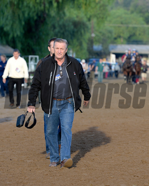 Caption:  trainer Rick Violette<br /> Scenes at Santa Anita  on Oct. 30, 2014, in preparation for Breeders' Cup  in California.<br /> 1Origs10_30_14 image995<br /> Photo by Anne M. Eberhardt