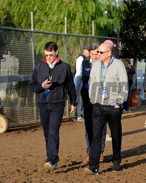 Caption:  Aidan O'Brien, left, and Michael Tabor<br /> Scenes at Santa Anita  on Oct. 30, 2014, in preparation for Breeders' Cup  in California.<br /> 1Origs10_30_14 image970<br /> Photo by Anne M. Eberhardt