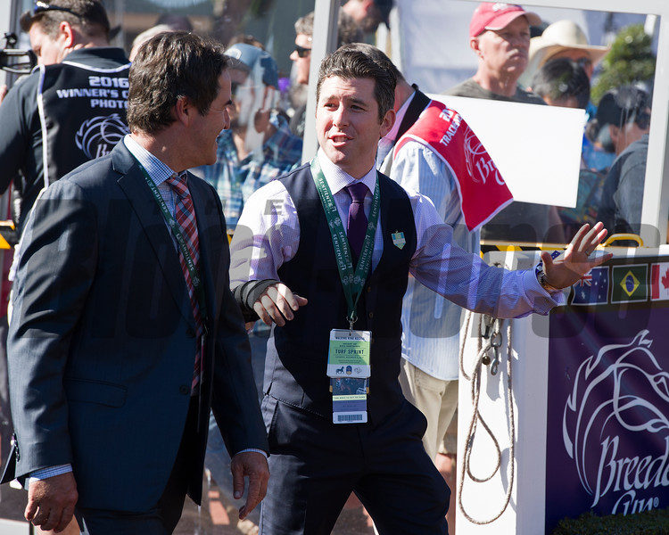 Bradley Weisbord with Donato Lanni<br /> Paddock scenes before the 14 Hands Winery Juvenile Fillies (gr. I) at Santa Anita on Nov. 5, 2016, in Arcadia, California.