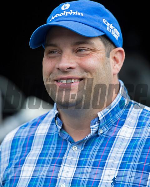 Brad Cox the morning after his 2021 Travers (G1) win at Saratoga. Photo: Anne M. Eberhardt