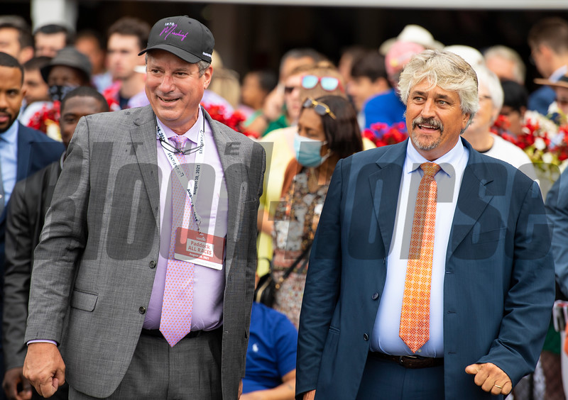(L-R): Mark Toothaker and Steve Asmussen in the winner's circle after Yaupon with Ricardo Santana Jr. win the Forego Stakes (G1) at Saratoga Race Course in Saratoga Springs, N.Y., on Aug. 28, 2021.