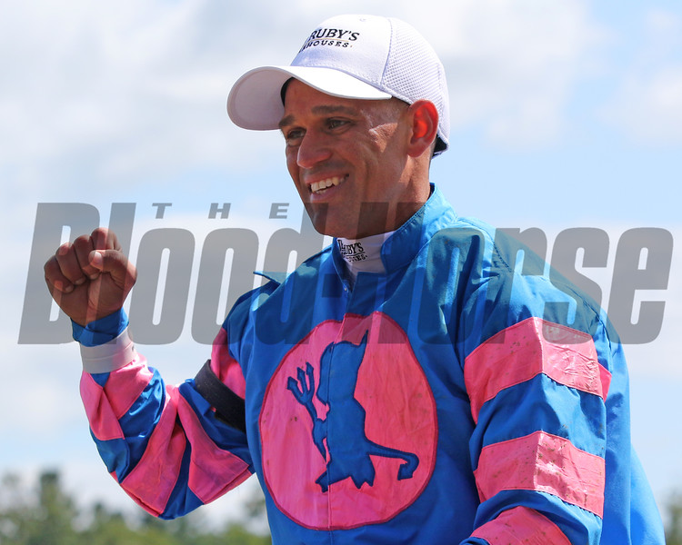 Javier Castellano after winning the 41st Running of The Ballerina (GI) at Saratoga on August 24, 2019 aboard Come Dancing. Photo By: Chad B. Harmon