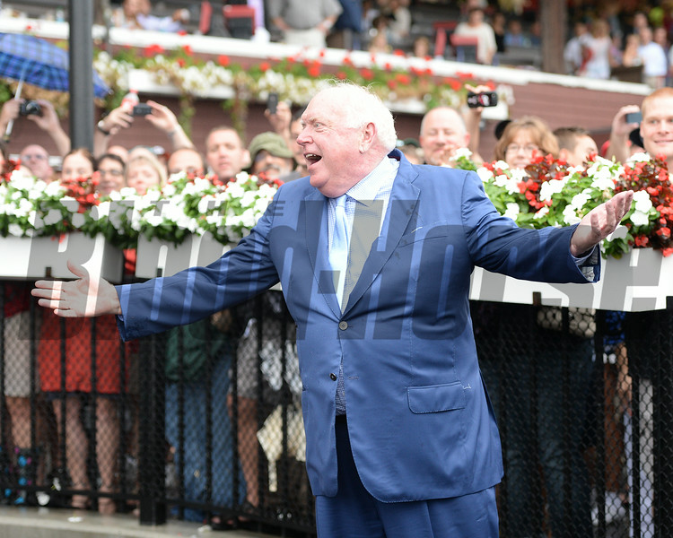 Tom Durkin's retirement ceremony following his final call at Saratoga.<br /> Coglianese Photos/Adam Mooshian