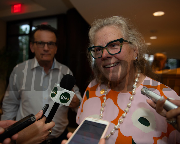 Dede McGehee after selling HIp 132 with Hill 'n' Dale. <br /> Sales scenes at Fasig-Tipton in Saratoga Springs, N.Y. on Aug. 10, 2021.