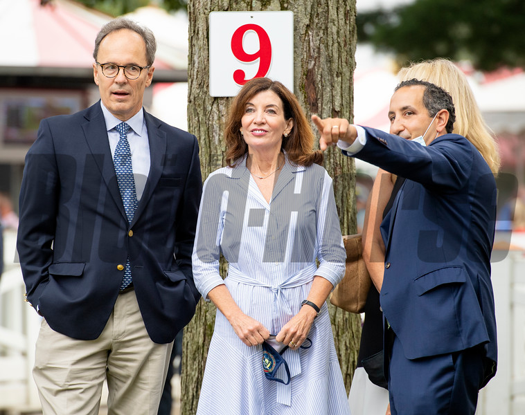 (L-R): Bill Hochul, Gov. Kathy Hochul, Sheila Heinze and Jeff Cannizzo in the paddock before the Runhappy Travers Stakes (G1) at Saratoga Race Course in Saratoga Springs, N.Y., on Aug. 28, 2021.