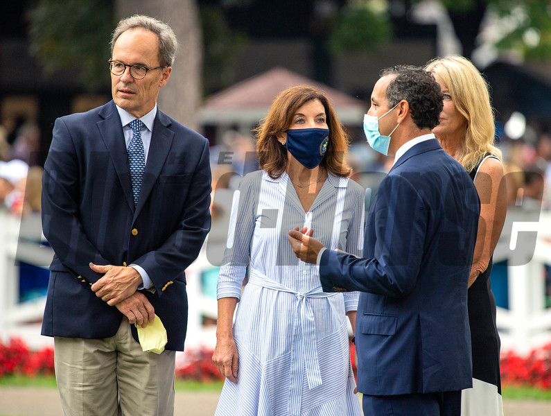 (L-R): Bill Hochul, Jeff Cannizzo, Gov. Kathy Hochul, Sheila Heinze in the paddock before the Runhappy Travers Stakes (G1) at Saratoga Race Course in Saratoga Springs, N.Y., on Aug. 28, 2021.