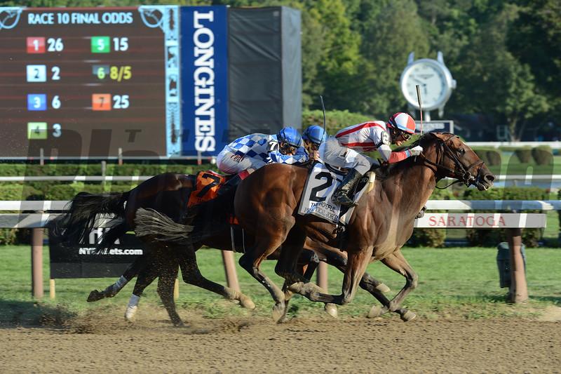 Practical Joke wins the Hopeful Stakes (gr. I) at Saratoga Sept. 5, 2016.<br /> Coglianese Photos
