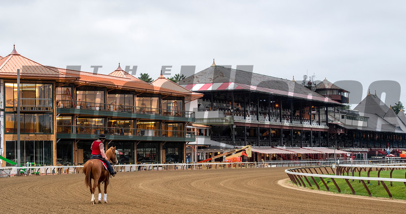 An outrider walks  the main track at 5:30 am and prepares  for the first horses of year to train on the Main track at the Saratoga Race Course which opens officially for training Thursday  June 20, 2019 in Saratoga Springs, N.Y. The 2019 season opens July 11 and runs through September 2nd.   Photo by Skip Dickstein.