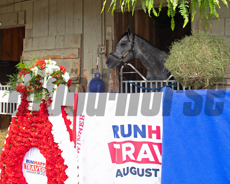 Essential Quality and Brad Cox the morning after his 2021 Travers (G1) win at Saratoga. Photo: Anne M. Eberhardt