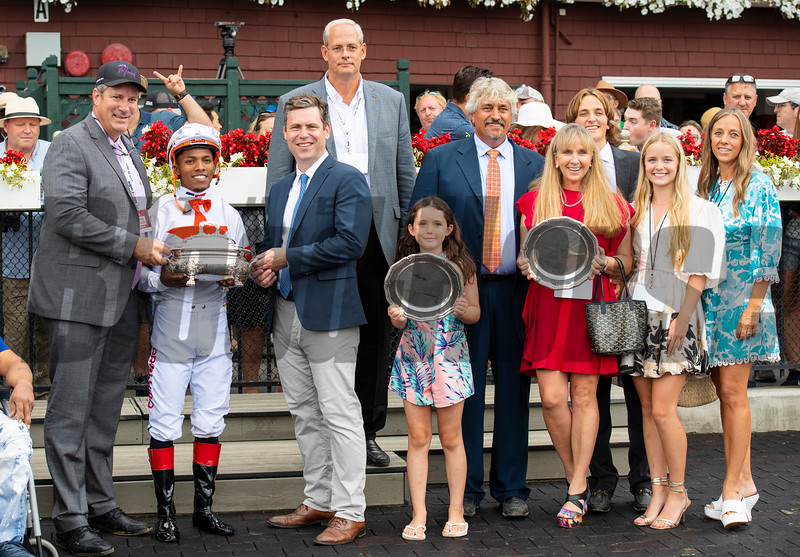 Mark Toothaker, Steve Asmussen and winning connections in the winner's circle after Yaupon with Ricardo Santana Jr. win the Forego Stakes (G1) at Saratoga Race Course in Saratoga Springs, N.Y., on Aug. 28, 2021.