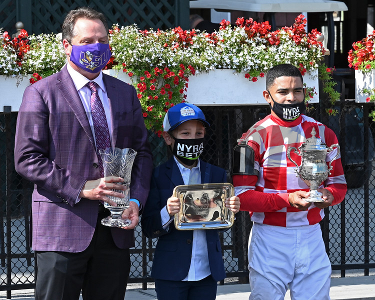 (L-R): Tom Amoss, Luca Allevatto, Luis Saez. Serengeti Empress with Luis Saez wins the Ballerina (G1) presented by NYRA Bets at Saratoga Race Track on Aug. 8, 2020.