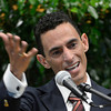 Jockey John Velazquez becomes emotionals as he accepts his induction to the class of 2012 as new members of the Hall of Fame that attended the induction ceremony held at the Fasig Tipton Sales Pavilion in Saratoga Springs, N.Y. August 10, 2012.  Photo by skip Dickstein