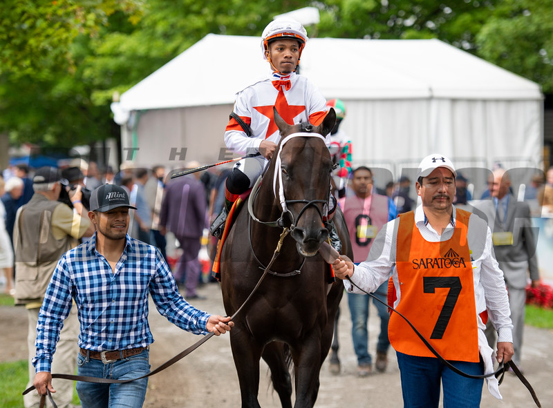 Yaupon with Ricardo Santana Jr. in paddock before the Forego Stakes (G1) at Saratoga Race Course in Saratoga Springs, N.Y., on Aug. 28, 2021.
