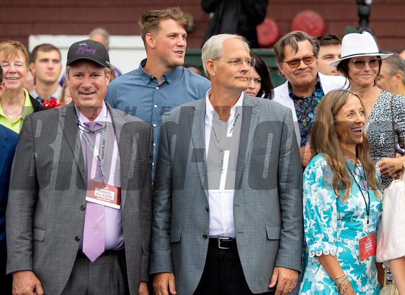 Winning connections and Mark Toothaker in the winner's circle after Yaupon with Ricardo Santana Jr. win the Forego Stakes (G1) at Saratoga Race Course in Saratoga Springs, N.Y., on Aug. 28, 2021.