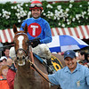 Summer Bird, Kent Desormeaux up, wins the 2009 Travers Stakes, Saratoga, 8/29/09, Mathea Kelley