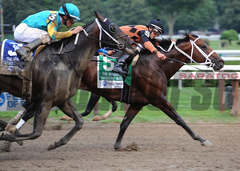 Poseiden's Warrior wins the Alfred G. Vanderbilt Handicap at Saratoga.<br /> Photo by Coglianese Photos