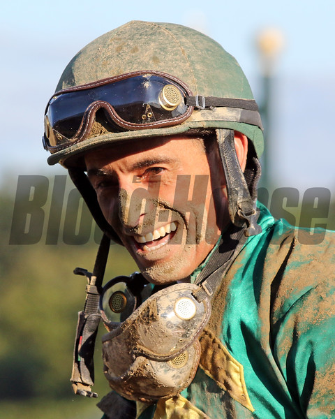 John Velazquez after winning the 150th Running of The Travers (GI) at Saratoga on August 24, 2019. Photo By: Chad B. Harmon