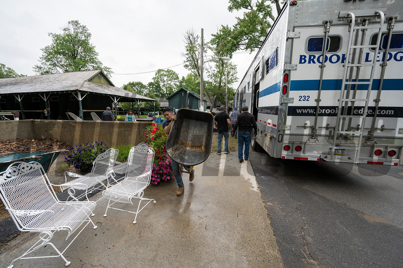 Horses and support personnel  arrive from trainer Mark Hennig's barn at Belmont Race Track  at the Saratoga Race Course  Monday July 13, 2021 in Sartoga Springs, N.Y. . Photo by Skip Dickstein