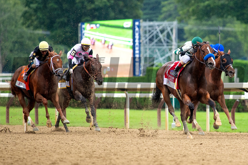 Gamine with John R. Velazquez wins the Ketel One Ballerina Handicap (G1) at Saratoga Race Course in Saratoga Springs, N.Y., on Aug. 28, 2021.