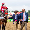 Nick Martinez, Andres Gutierrez, Fausto Gutierrez and Ana Gutierrez join Letruska with Irad Ortiz Jr. after win of the Personal Ensign Stakes (G1) at Saratoga Race Course in Saratoga Springs, N.Y., on Aug. 28, 2021.