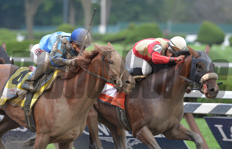 V.E. Day defeated Wicked Strong in the 2014 Travers Stakes.<br /> Photo by: Skip Dickstein