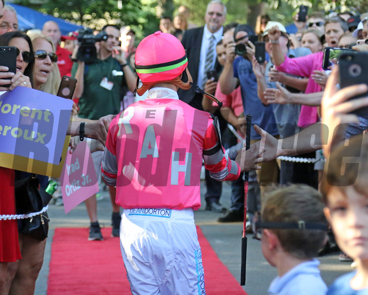 Irad Ortiz Jr. - Jockey Introductions prior to the 150th Running of the Travers (GI) at Saratoga on August 24, 2019. Photo By: Chad B. Harmon