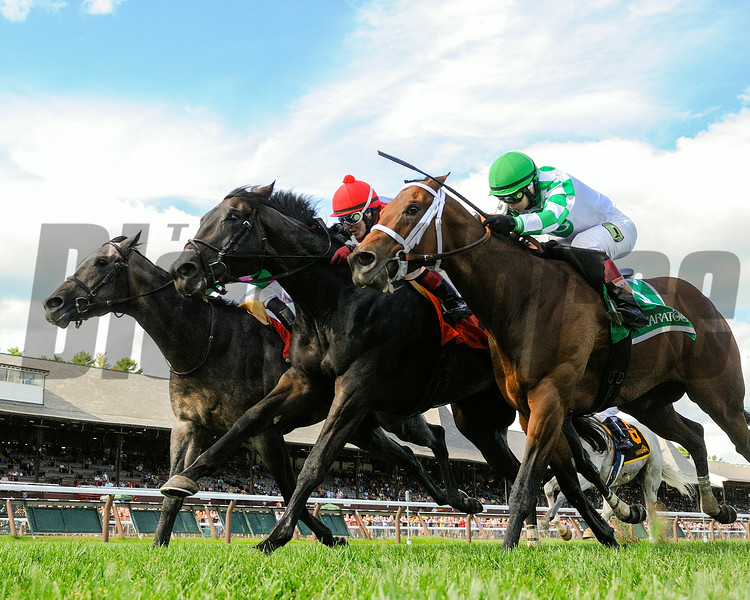Pure Sensation battles down the stretch to win the Quick Call Stakes at Saratoga Race Course. <br /> Coglianese Photo