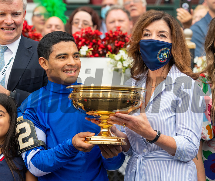 Gov. Kathy Hochul (R) in the winner's circle after Essential Quality with Luis Saez win the Runhappy Travers Stakes (G1) at Saratoga Race Course in Saratoga Springs, N.Y., on Aug. 28, 2021.