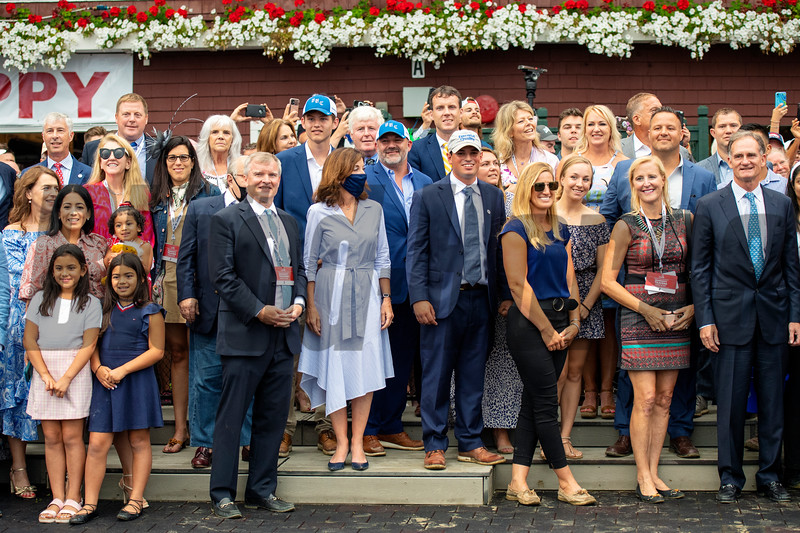 Gov. Kathy Hochul, Jimmy Bell and winning connections in the winner's circle after Essential Quality with Luis Saez win the Runhappy Travers Stakes (G1) at Saratoga Race Course in Saratoga Springs, N.Y., on Aug. 28, 2021.